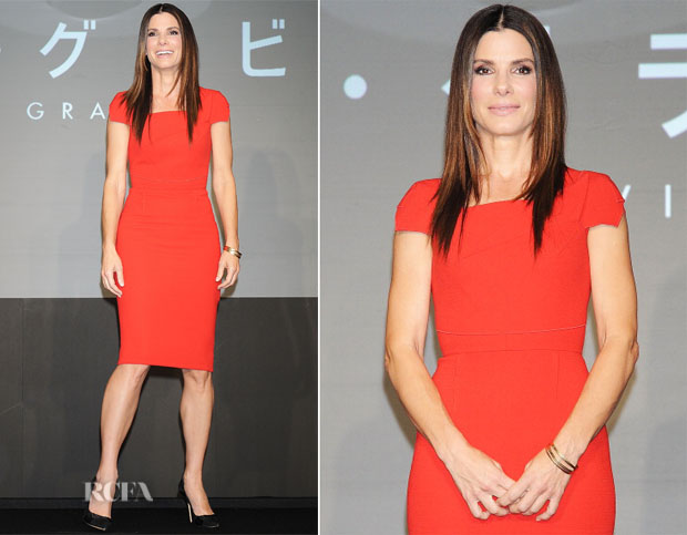 Sandra Bullock In Roland Mouret - 'Gravity' Tokyo Press Conference