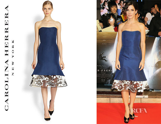 Sandra Bullock's Carolina Herrera Silk Strapless Dress