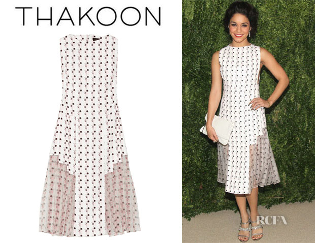 Vanessa Hudgens' Thakoon Printed Crepe And Silk Chiffon Dress