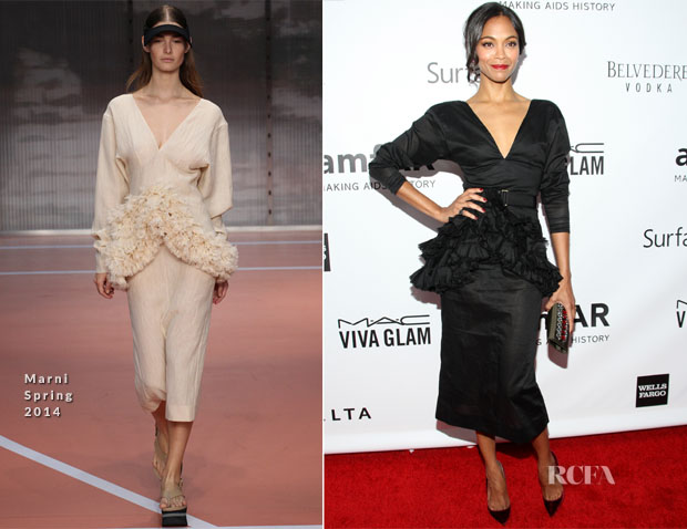 Zoe Saldana In Marni - 2013 amfAR Inspiration Gala Los Angeles
