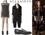 Zosia Mamet's All Saints 'Pony Whitting' Jacket, Crystal Mesh Tee Dress And 'Keiko' Loafers