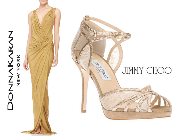 meagan good donna karan dress jimmy choo sandals