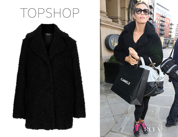 Abbey Clancy's Topshop 'Teddy Fur' Pea Coat