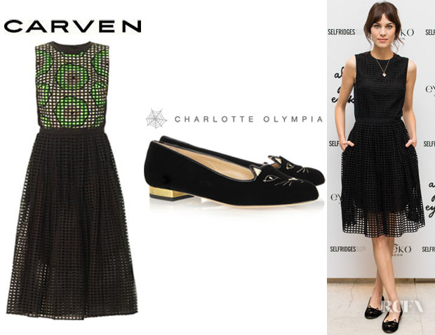 Alexa Chung's Carven Broderie Anglasie Dress And Charlotte Olympia 'Kitty' Embroidered Velvet Slippers