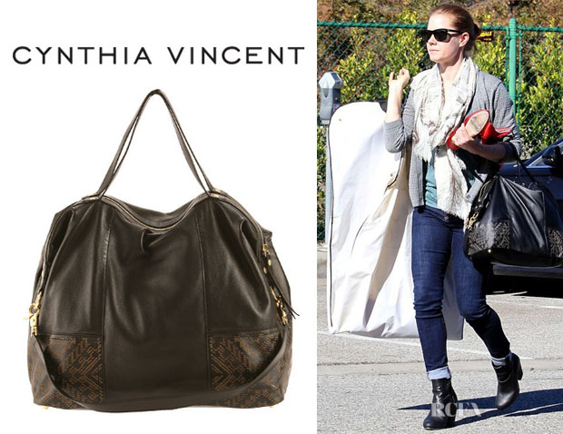 Amy Adams' Cynthia Vincent Etched Leather 'Taltha' Satchel