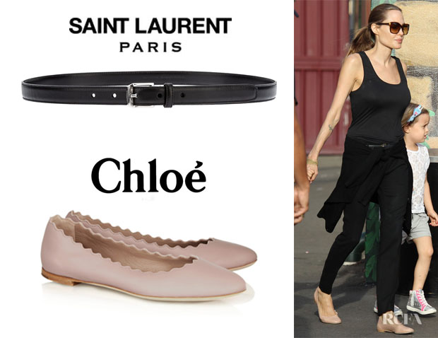 Angelina Jolie's Saint Laurent Classic Belt And Chloé 'Lauren' Leather Ballet Flats