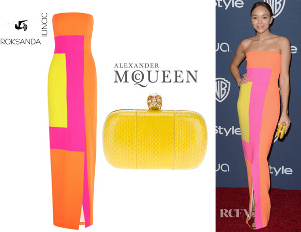 Ashley Madekwe's Roksanda Ilincic Colour-Block Gown And Alexander McQueen 'The Skull' Box Clutch