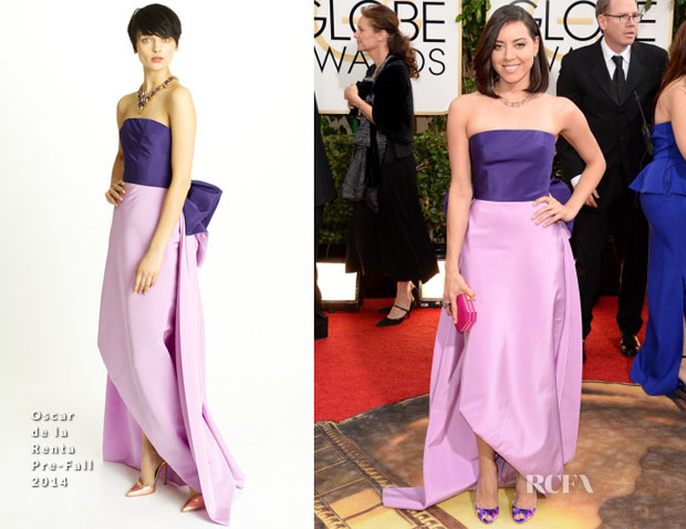 Aubrey Plaza In Oscar de la Renta - 2014 Golden Globe Awards