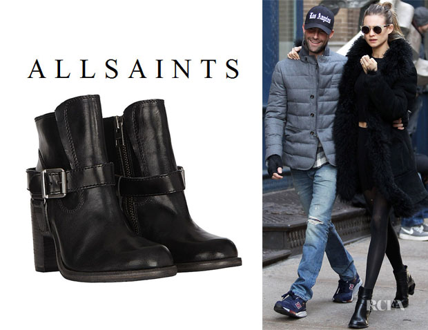 Behati Prinsloo's All Saints 'Jules' Heeled Biker Boots