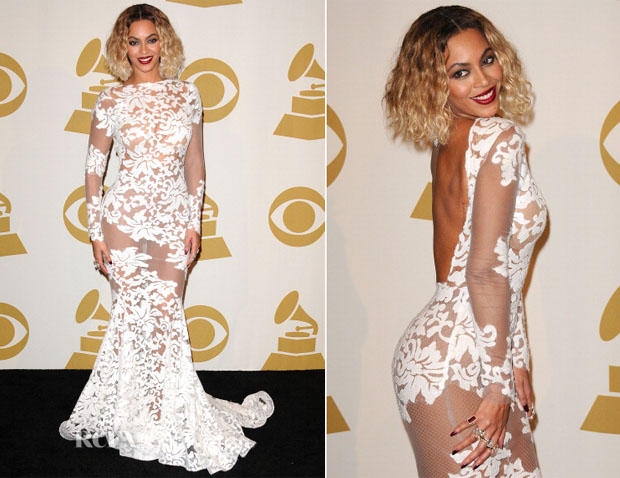 Beyonce Knowles In Michael Costello - 2014 Grammy Awards Press Room