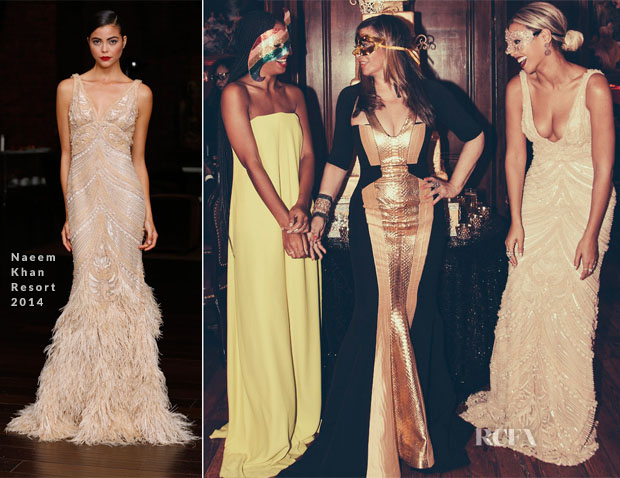 Beyonce Knowles In Naeem Khan - 60th Birthday Masquerade Party