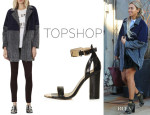 Beyonce Knowles' Topshop Two-Tone Textured Coat And Topshop 'Rhodium' Metal Trim Heels