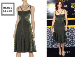 Carla Gugino's Hervé Léger By Max Azria 'Ondria' Geometric Beaded Dress