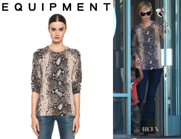 Charlize Theron's Equipment 'Sloane' Cashmere Crew Neck