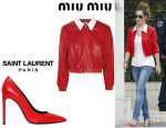 Cheryl Cole's Miu Miu Leather Bomber Jacket And Saint Laurent 'Paris' Leather Pumps