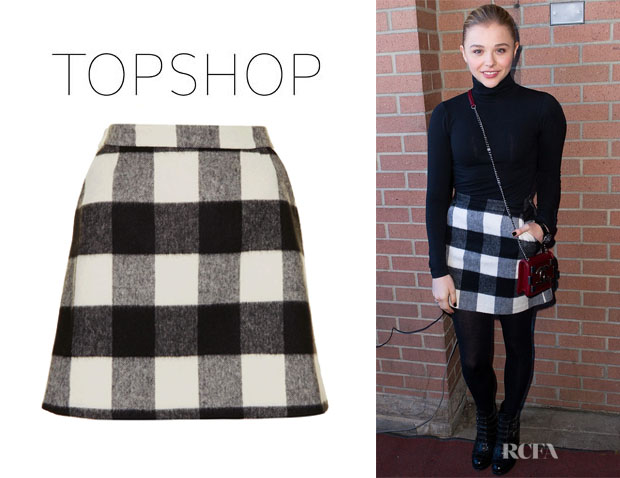 Chloe Grace Moretz' Topshop Brush Gingham A-Line Skirt