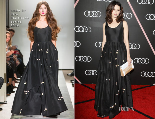 Crystal Reed In Lublu by Kira Plastinina - Audi Celebrates The 2014 Golden Globes Weekend