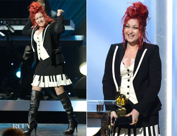 Cyndi Lauper In Moschino Cheap and Chic - 2014 Grammy Awards Pre-Telecast Show