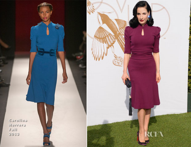 Dita von Teese In Carolina Herrera - LoveGold Luncheon Honouring Michelle Dockery