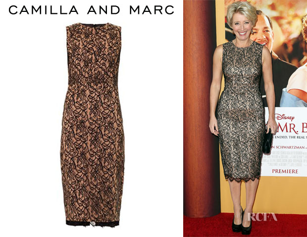 Emma Thompson's Camilla and Marc Lace Front Fitted Dress