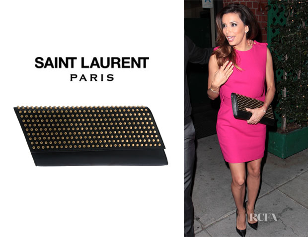 Eva Longoria's Saint Laurent Studded 'Diagonale' Clutch