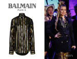 Fergie's Balmain Striped Silk Shirt