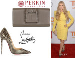 Fergie's Christian Louboutin 'So Kate' Python Pumps And Perrin Paris 'Capitale' Clutch