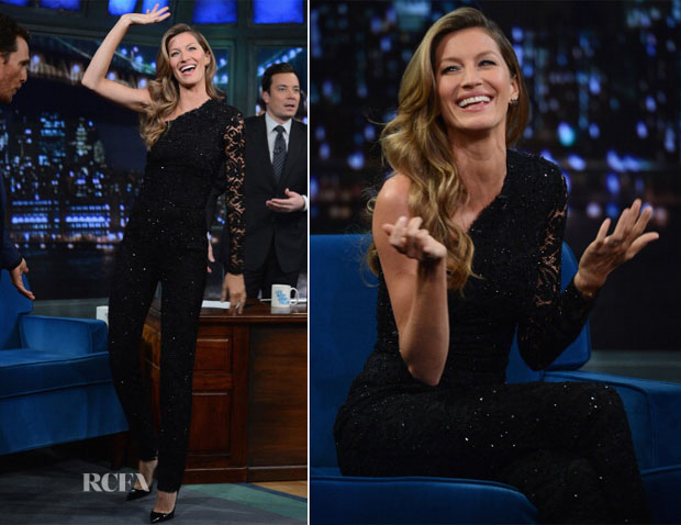 Gisele Bundchen In Emilio Pucci - Late Night With Jimmy Fallon