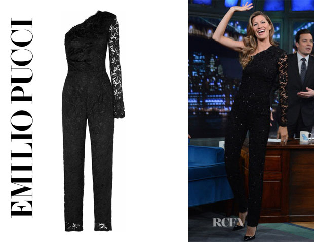 Gisele Bundchen's Emilio Pucci One-Shoulder Lace Jumpsuit