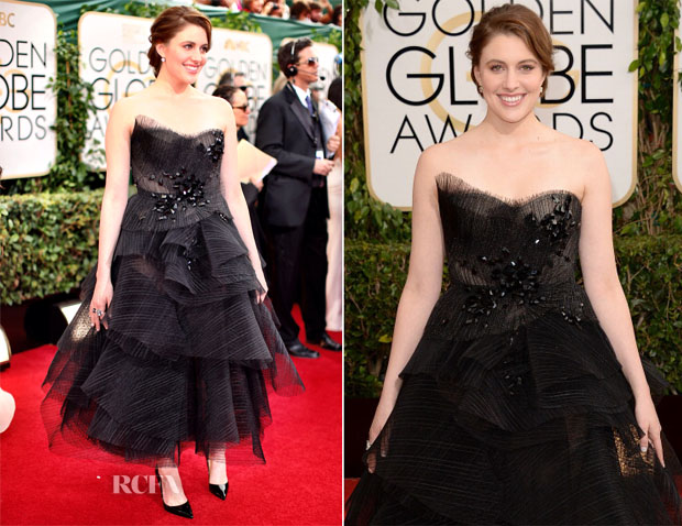 Greta Gerwig In Donna Karan Atelier - 2014 Golden Globe Awards
