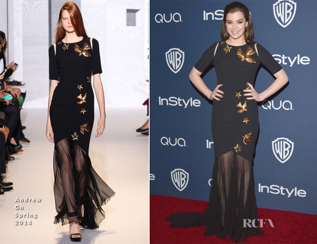 Hailee Streinfeld In Andrew Gn - InStyle and Warner Brothers Golden Globes Awards Party