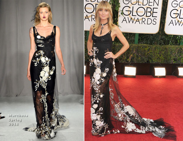 Heidi Klum In Marchesa - 2014 Golden Globe Awards