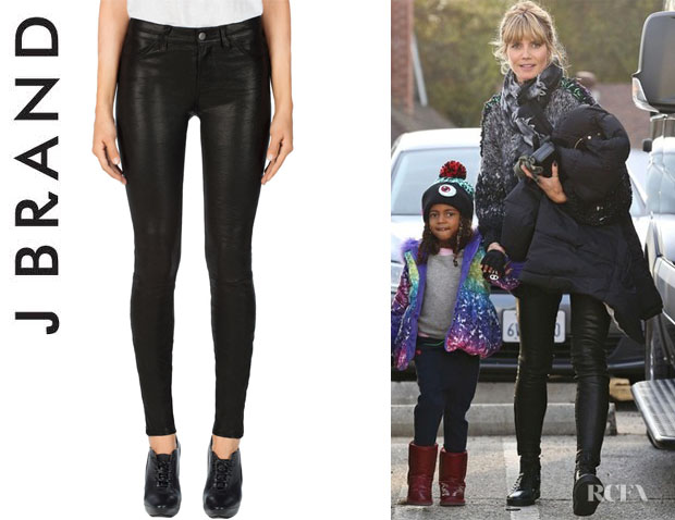 Heidi Klum's J Brand 'L8001' Leather Super Skinny Jeans