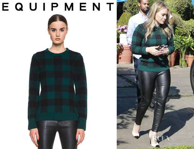 Hilary Duff's Equipment 'Shane' Plaid Wool Sweater
