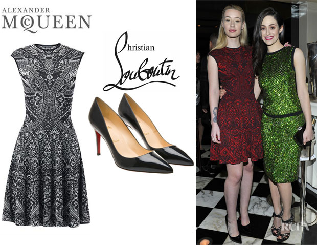 Iggy Azalea's Alexander McQueen Lace Jacquard Intarsia-Knit Dress And Christian Louboutin 'Pigalle' Patent Pumps