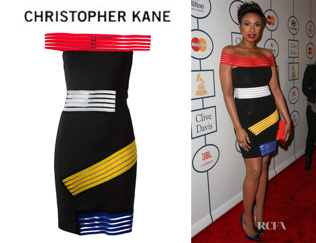 Jennifer Hudson's Christopher Kane Contrast Stripe Off-Shoulder Dress
