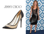 Jennifer Lopez' Jimmy Choo Sparkler Point-Toe Studded Pumps