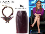 Jennifer Lopez' Lanvin Eagle Pendant Necklace And Burberry Prorsum Translucent Rubber Pencil Skirt