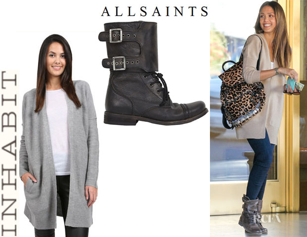 Jessica Alba's Inhabit Cardigan And All Saints 'Damisi' Boots