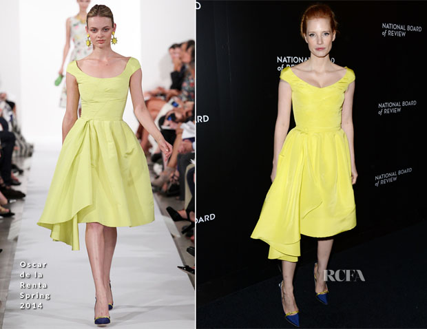 Jessica Chastain In Oscar de la Renta - 2014 National Board Of Review Awards Gala