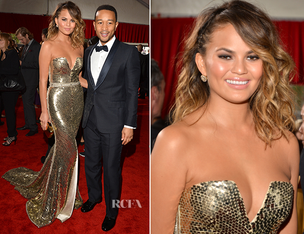 John Legend In Gucci & Chrissy Teigen In Johanna Johnson - 2014 Grammy Awards