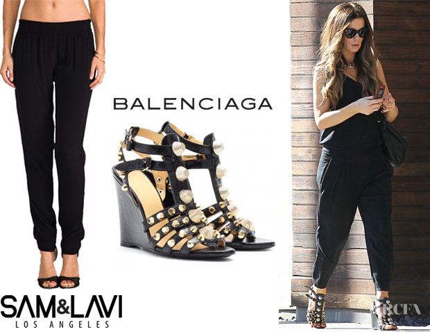 Kate Beckinsale's Sam & Lavi 'Lexi' Pants And Balenciaga 'Arena' Stud Wedge Sandals