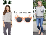 Kate Hudson's Wilt Long Sleeve Hi Lo Pullover And Karen Walker 'Number One' Sunglasses