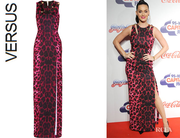Katy Perry's Versus Embellished Animal-Print Maxi Dress