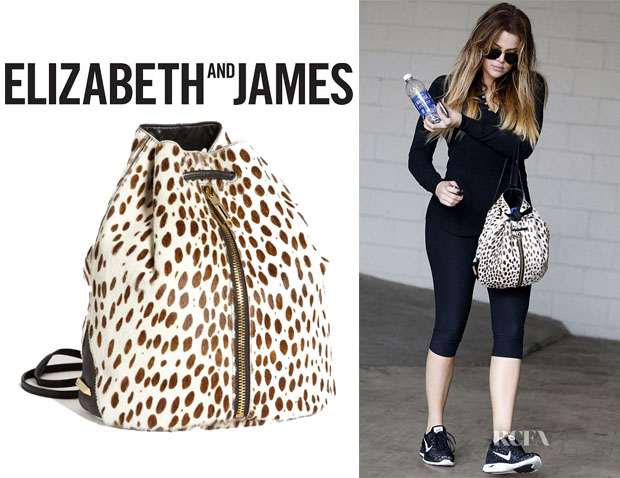 Khloe Kardashian's Elizabeth and James Spotted Calf Hair Drawstring Backpack