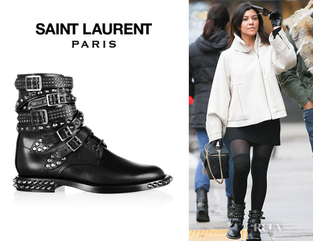 Kourtney Kardashian's Saint Laurent 'Signature Rangers' Studded Leather Boots
