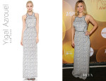 Kristen Bell's Yigal Azrouel Small Feather Silk Gown