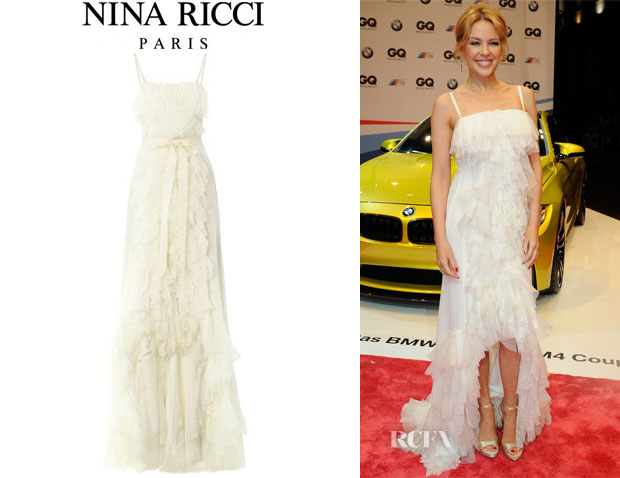 Kylie Minogue S Nina Ricci Tiered Ruffle Silk Lace Gown