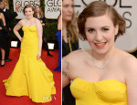 Lena Dunham In Zac Posen - 2014 Golden Globe Awards