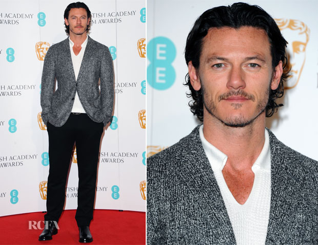 Luke Evans In Giorgio Armani - EE British Academy Film Awards Nominations Photocall